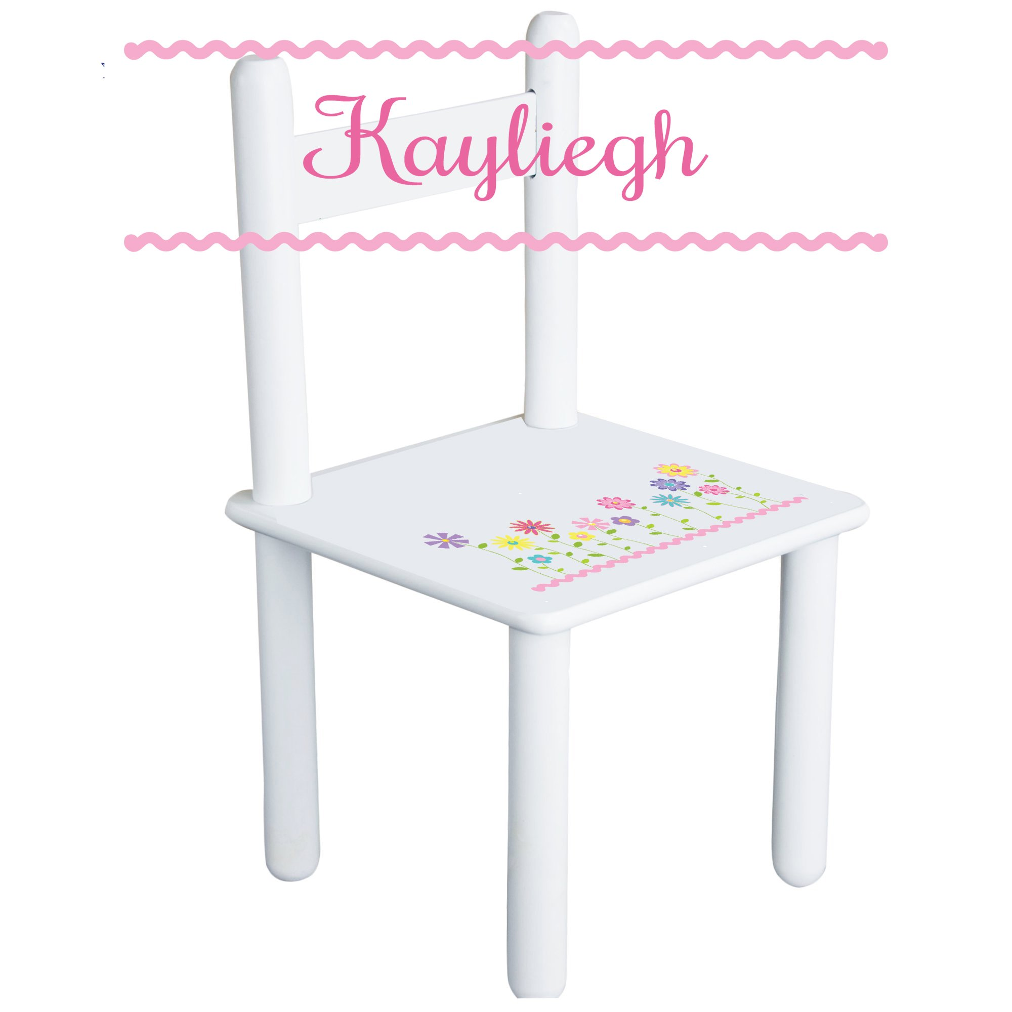 Personalized Stemmed Flowers Child's Chair - white