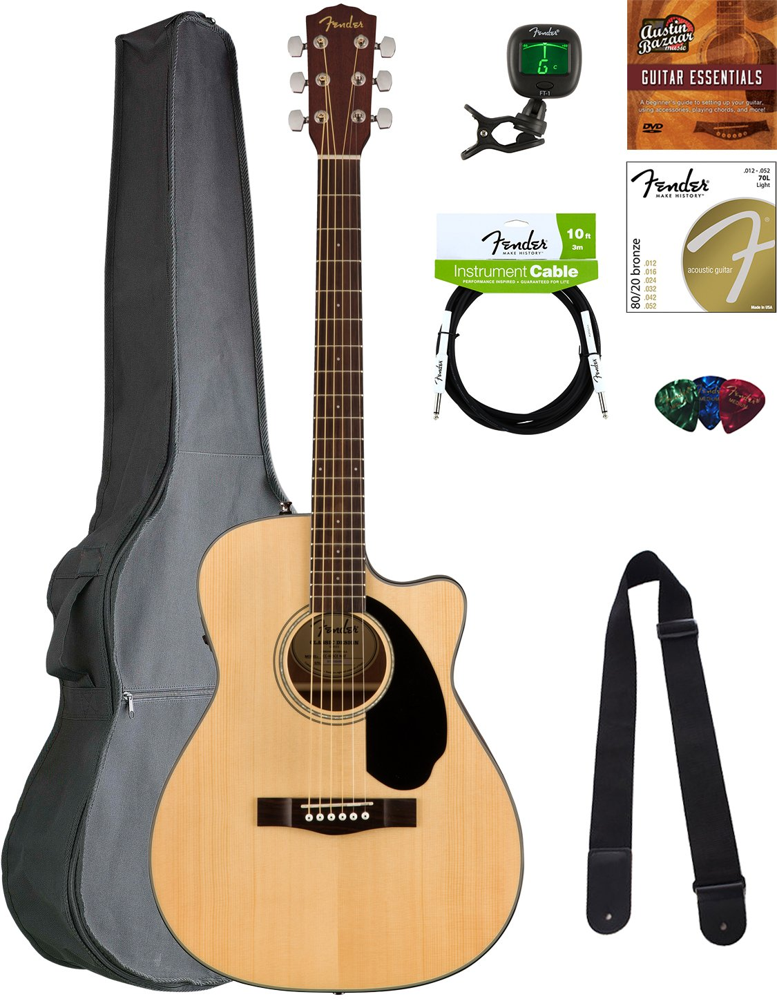 Amazon Fender Cc 60sce Concert Acoustic Electric Guitar