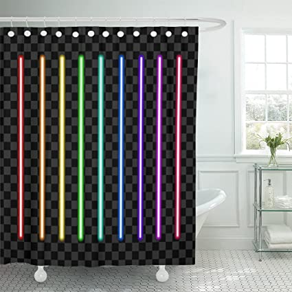 TOMPOP Shower Curtain Green Border Neon Tube Light Pack Pink Bar Glow Waterproof Polyester Fabric 72