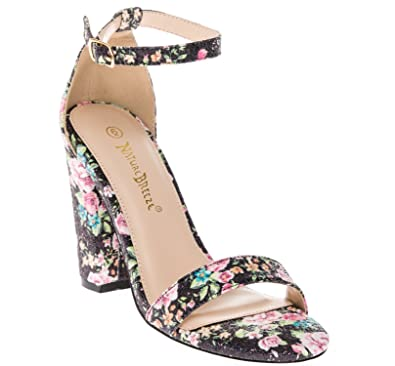 efe4282d71f CALICO KIKI PHOEBE-CK01 Women s Casual Floral Glitter Ankle Strap Block  Heel Open Toe Pumps