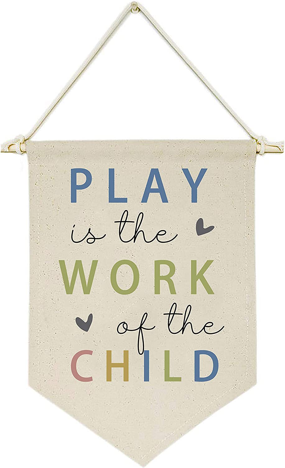 Topthink Play is The Work of The Child -Canvas Hanging Flag Banner Wall Sign Decor Gift for Baby Kids Girl Boy Nursery Teen Room Playroom Front Door - Heart