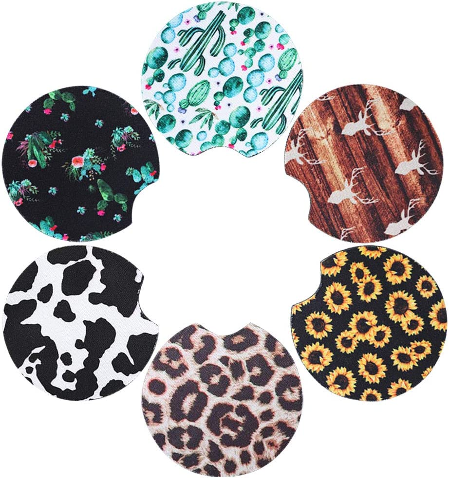 Absorbent Car Coasters Ceramic Stone with A Finger Notch for Easy Removal of Auto Cupholder Coaster Sublimation Blanks Car Cup Coasters Stain and Spill Keep Vehicle Free from Cold Drink Sweat