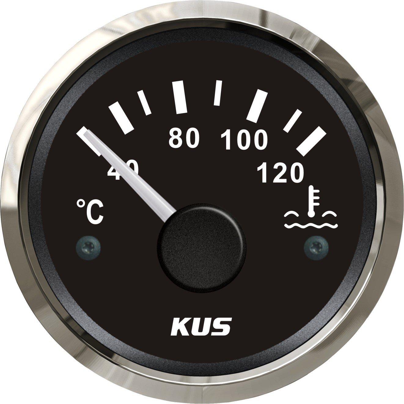 Kus é tanche Tempé rature de l'eau Indicateur de jauge de tempé rature Mè tre 40– 120 ℃ avec ré tro-é clairage 12 V/24 V 52 mm (5, 1 cm) 1cm)