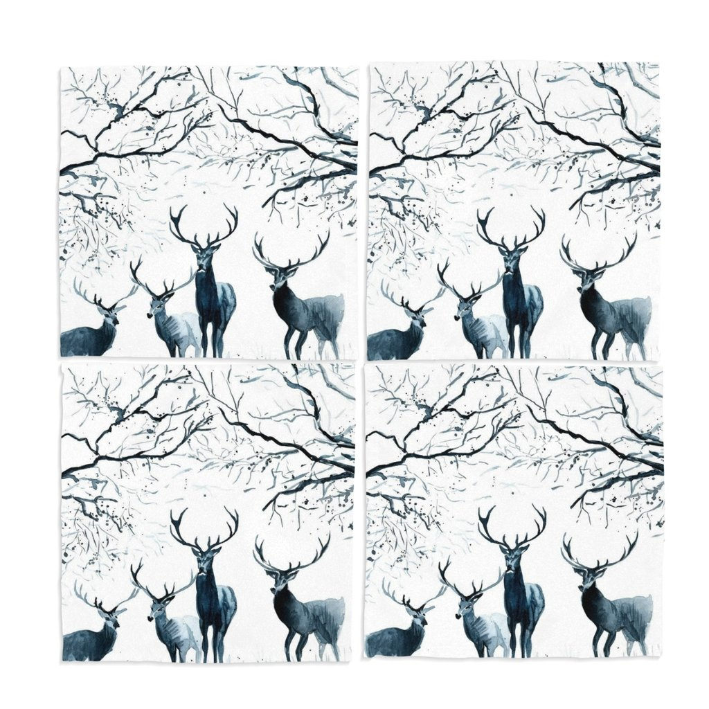 naanle Deer Washable Placemats 12 x 12インチのセット4 Placeマットのダイニングテーブル   B01N0WFHCX