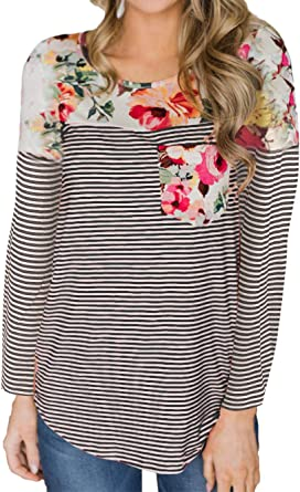 Women Long Sleeve Stripes T Shirt Career Office Casual Pocket Blouses Tunic Tops