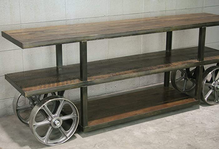 buy popular 41f78 870ec Amazon.com: Industrial Trolley Cart/Rustic Media Console ...