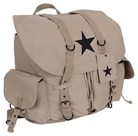 215ed48b85 Amazon.com  Rothco Vintage Black Star Canvas Backpack
