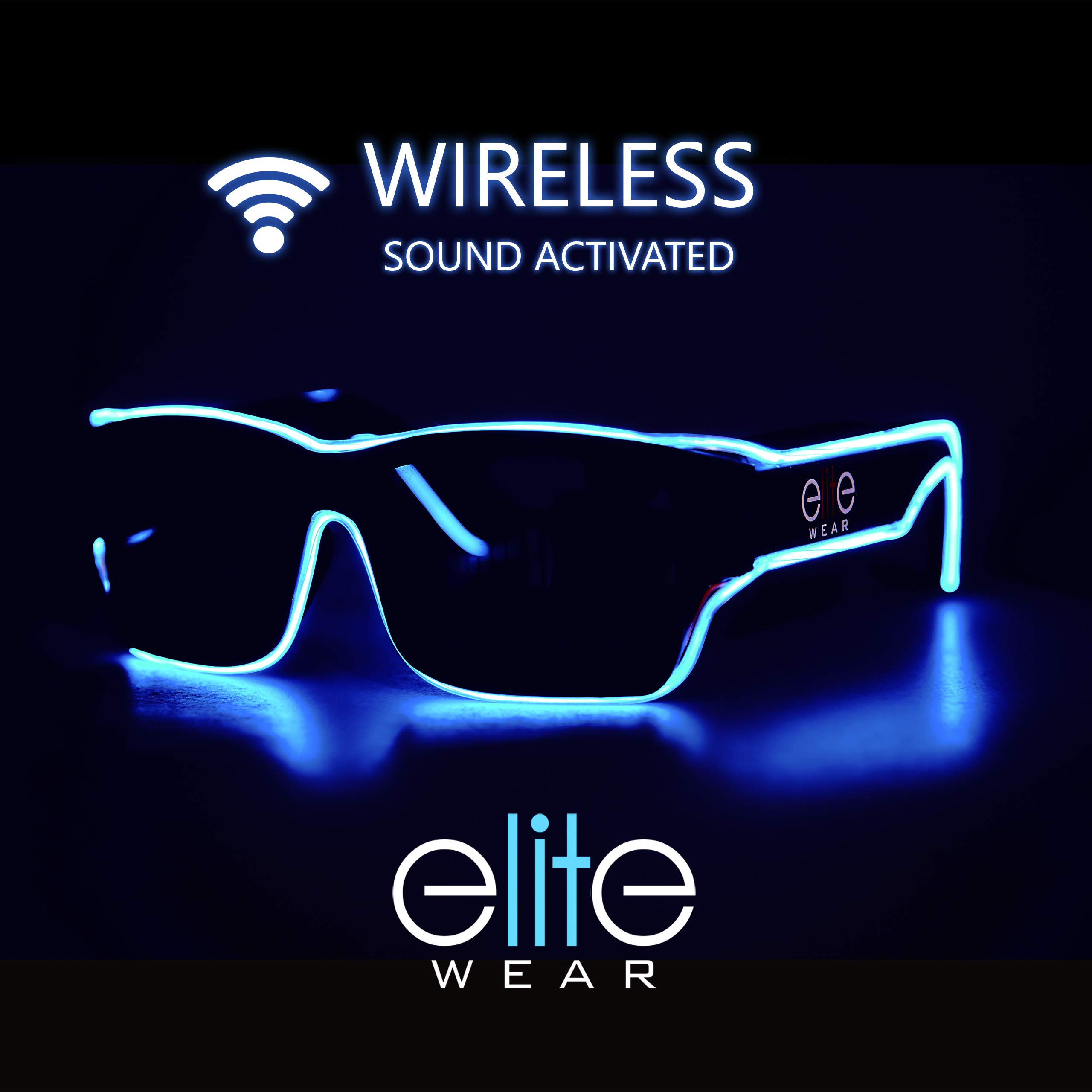 Elite Wear Wireless Sound Activated Rechargeable Electroluminescent Light Up Glasses (Aqua) by Elite Wear