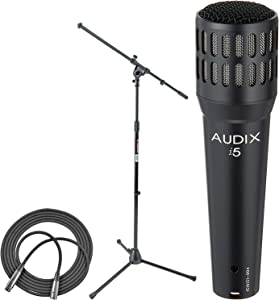 Audix I5 Dynamic Instrument Microphone + On Stage Euro Boom Microphone Stand + XLR Mic Cable XLR-M to XLR-F