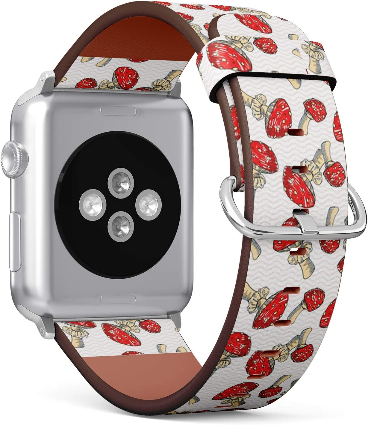 Compatible con Apple Watch de 42 mm y 44 mm – Correa de Reloj de Cuero con Cierre de Acero Inoxidable y adaptadores (Amanita Sketch Marker)