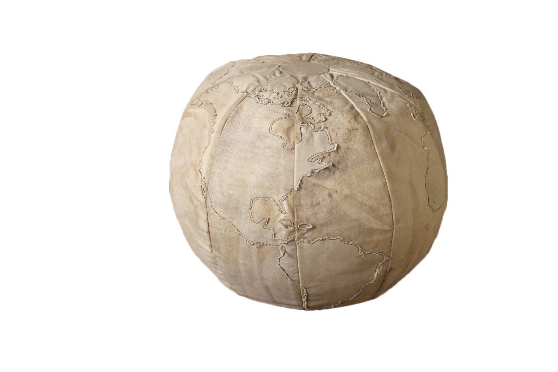 Kalalou Beige Recycled Canvas Globe Pouf