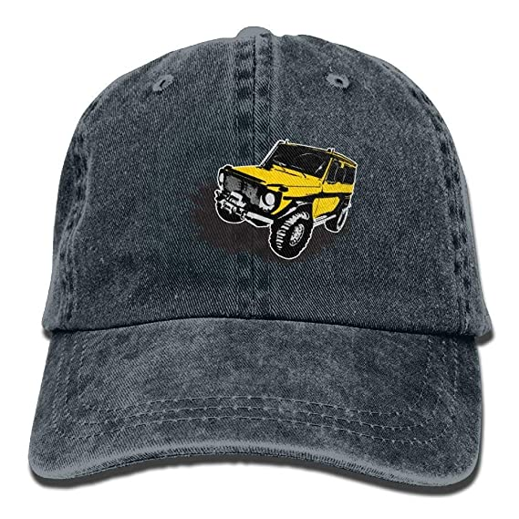 1ce20cd6e9c Painted Yellow Jeep Car Denim Hat Adjustable Women s Low Baseball Hats at  Amazon Men s Clothing store