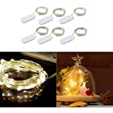 6 Packs 2M 20 LEDs Micro Fairy String Lights CR2032 Battery Powered (Included) Outdoor Copper Wire Light for DIY Wedding Party Christmas Table Decorations (Warm White)