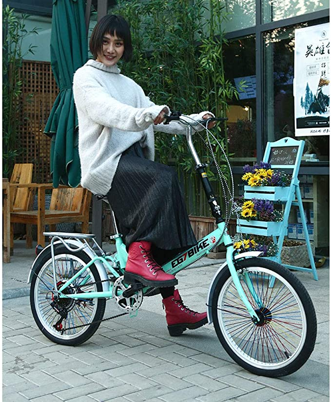 Elípticas Bicicleta Bicicleta Unisex Bicicleta Plegable Ruedas De 20 Pulgadas Ciudad Plegable V2 Bicicleta Plegable Compacta Aleación Ligera Ciudad Plegable (Color : Green, Size : 26-Inch): Amazon.es: Hogar