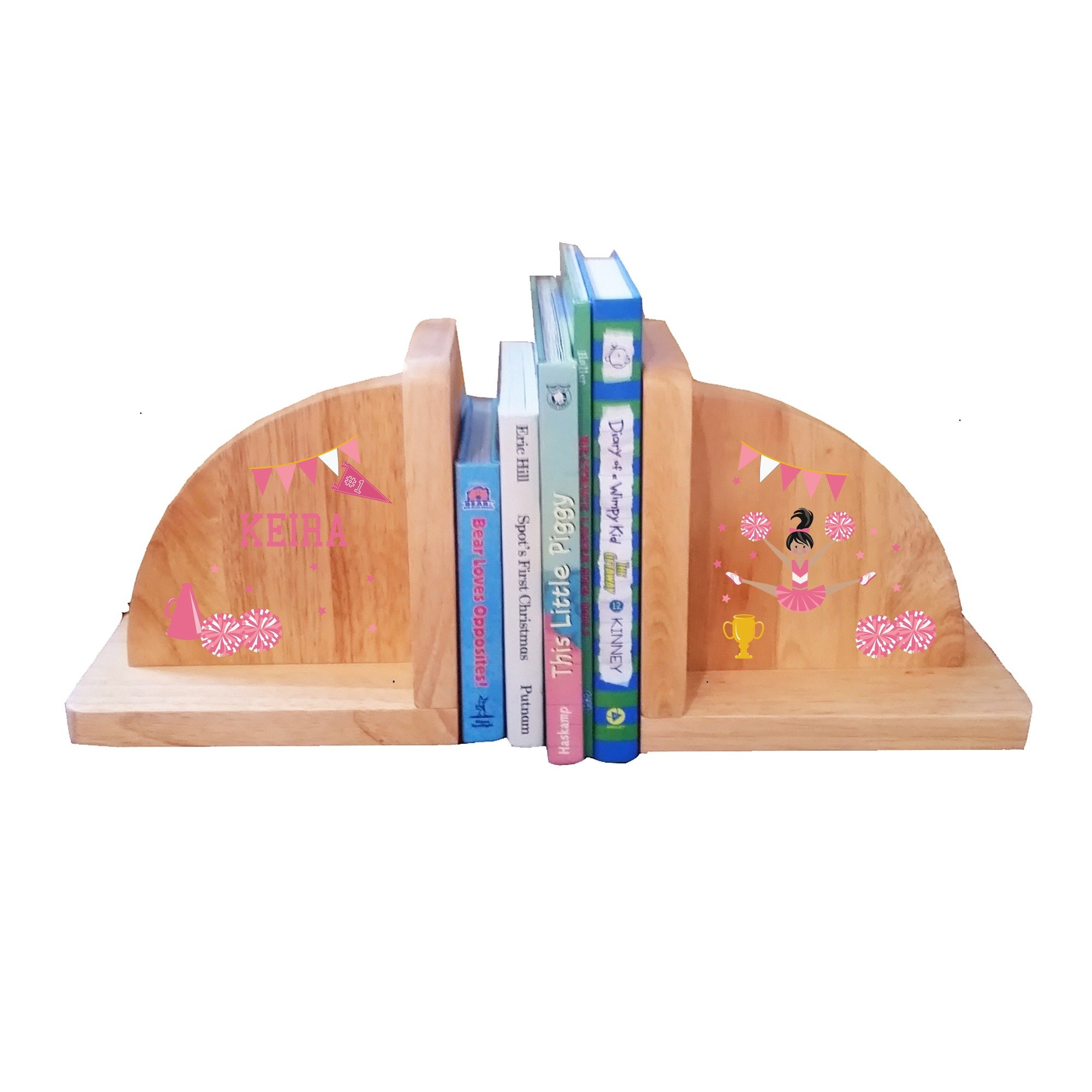 Personalized Cheerleader Black Hair Pink Natural Wooden Bookends