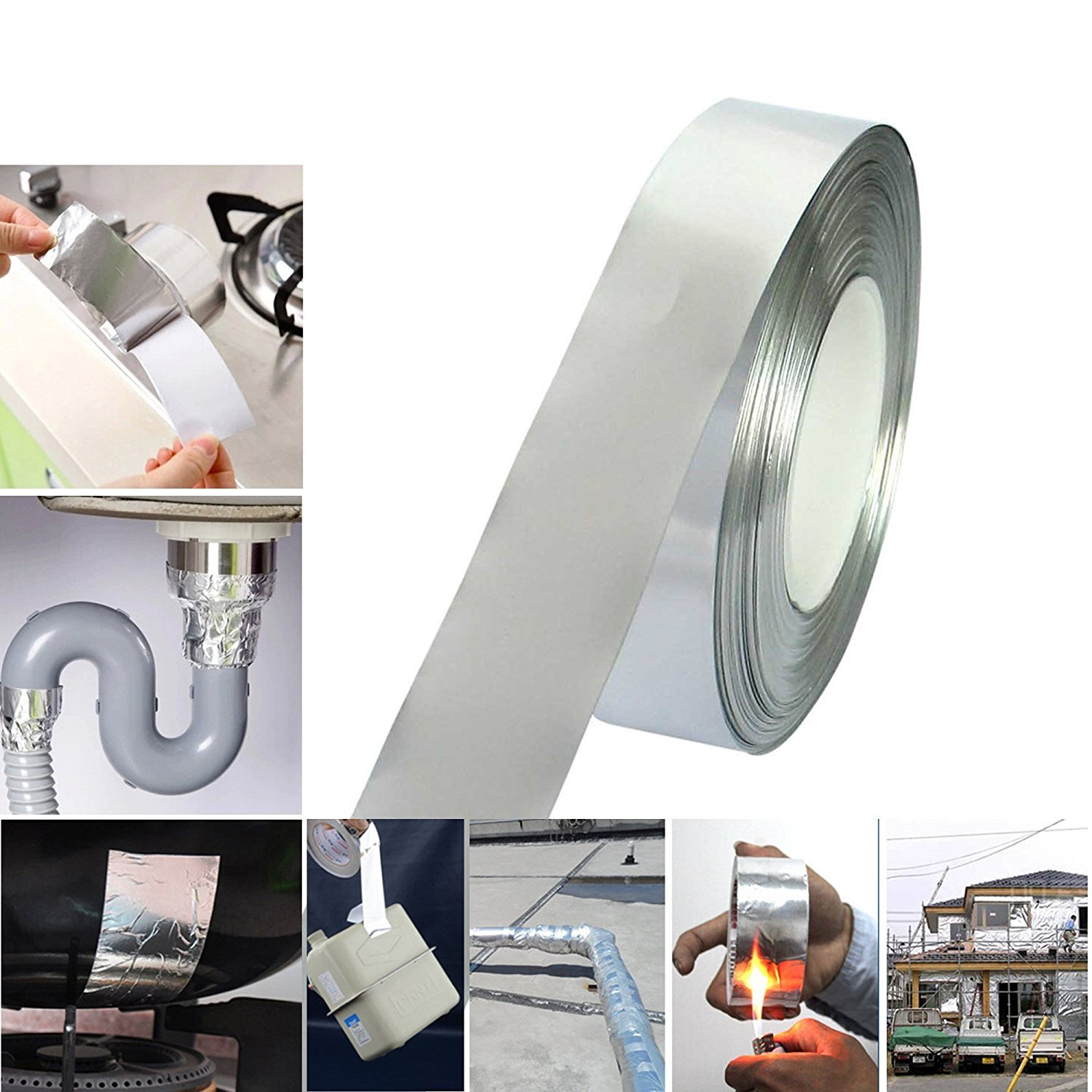Aluminum Foil Tape 20-48-72-96MM X 50M Heath Insulation Duct Self Adhesive /& For Polycarbonate Sheets 48mm