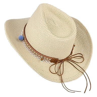 Mens Beach Sun Hats Summer Wide Brim Vintage Boho Straw Hats Unisex ... 9b5a0765aef