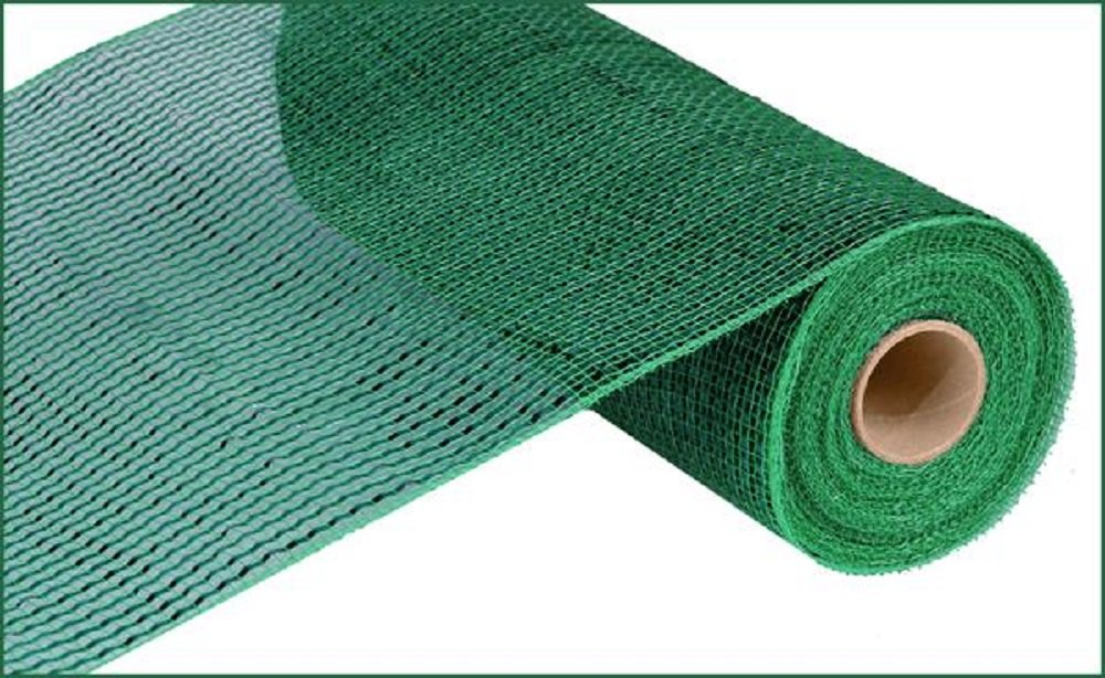 Deluxe Wide Foil Poly Deco Mesh, 10 Inches x 10 Yards (Emerald Green with Emerald Foil) by Craig Bachman
