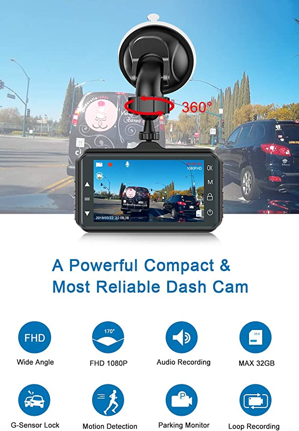 Loop Recording Eubell Mini Dash Cam 1080P Full HD Dash Camera for Cars Recorder Motion Detection Parking Monitoring