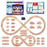 67 Piece Wooden Train Track Set with Train Car by Tiny Conductors - 100% Real Wood, Compatible with Thomas and All Other Major Brands Wooden Toy Railroad Sets (67-Piece)