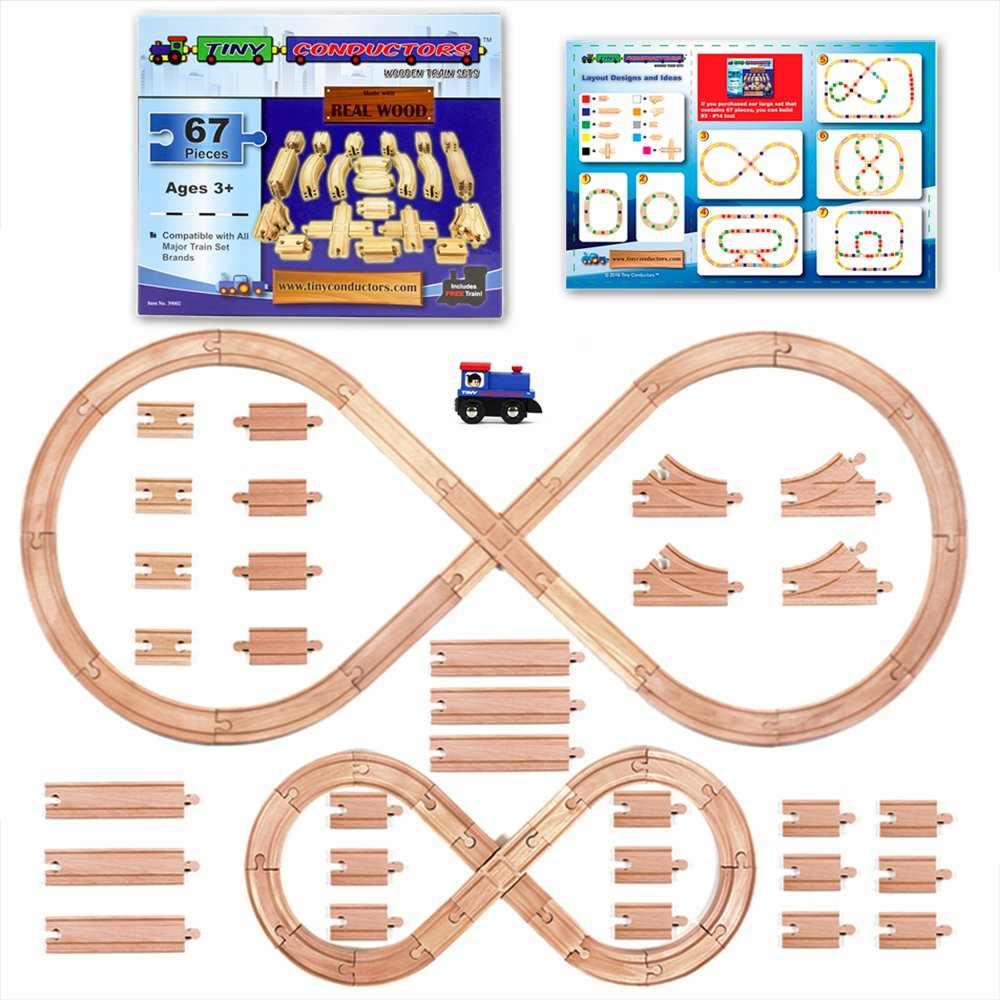 Tiny Conductors 67 Piece Wooden Train Track Set With Train Car 100 Real Wood Compatible With Thomas And All Other Major Brands Wooden Toy Railroad