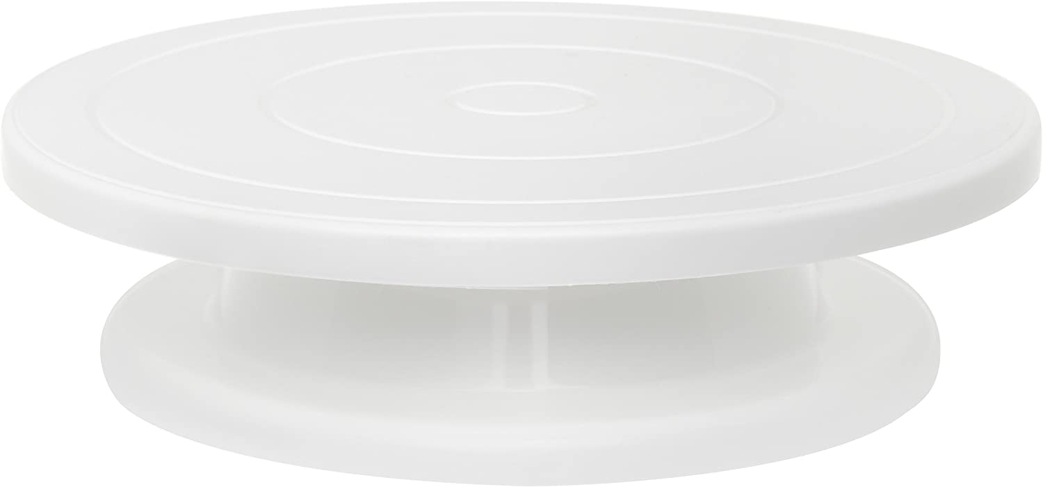 Ateco Revolving Cake Decorating Stand, Plastic Turntable and Base, 11-Inch Round, White