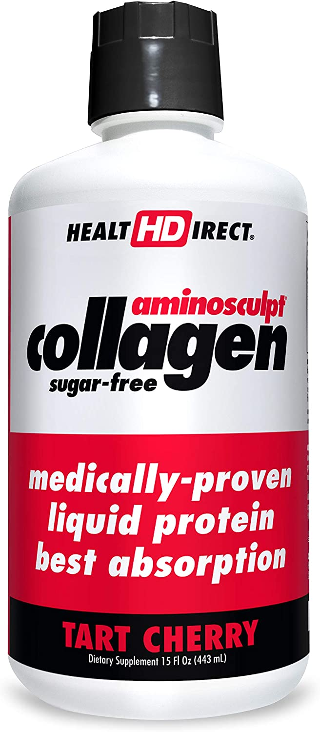 Medical-Grade Liquid Collagen Supplement | AminoSculpt Sugar-Free | Tart Cherry | Burn Fat | Recovery | Good for Joints, Bones, and Sleep | Better Hair, Skin and Nails