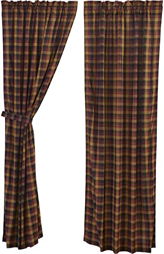 VHC Brands Heritage Farms Primitive Check Panel Set of 2 84×40 Country Curtains
