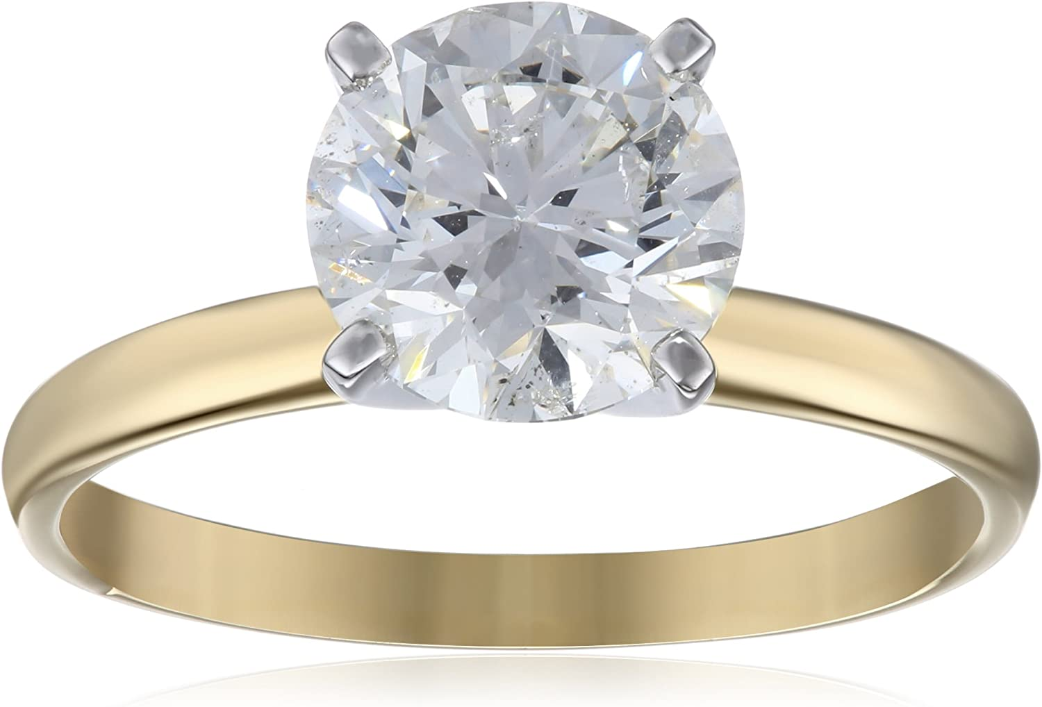 IGI Certified 18k Gold Classic Round-Cut Diamond Engagement Ring (2.0 carat, H-I Color, SI1-SI2 Clarity) Engagement Rings Amazon Collection B005T7S6JQ