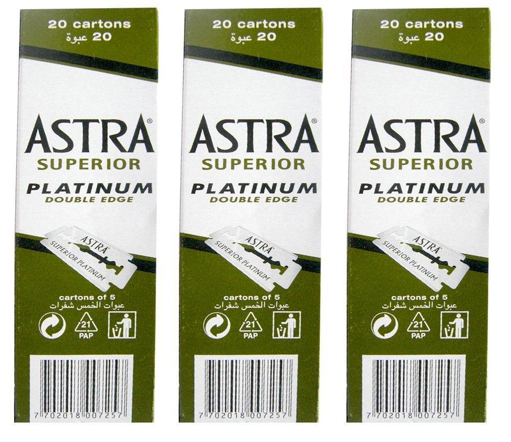 100 Astra Superior Premium Platinum Double Edge Safety Razor Blades 3-Count Pack