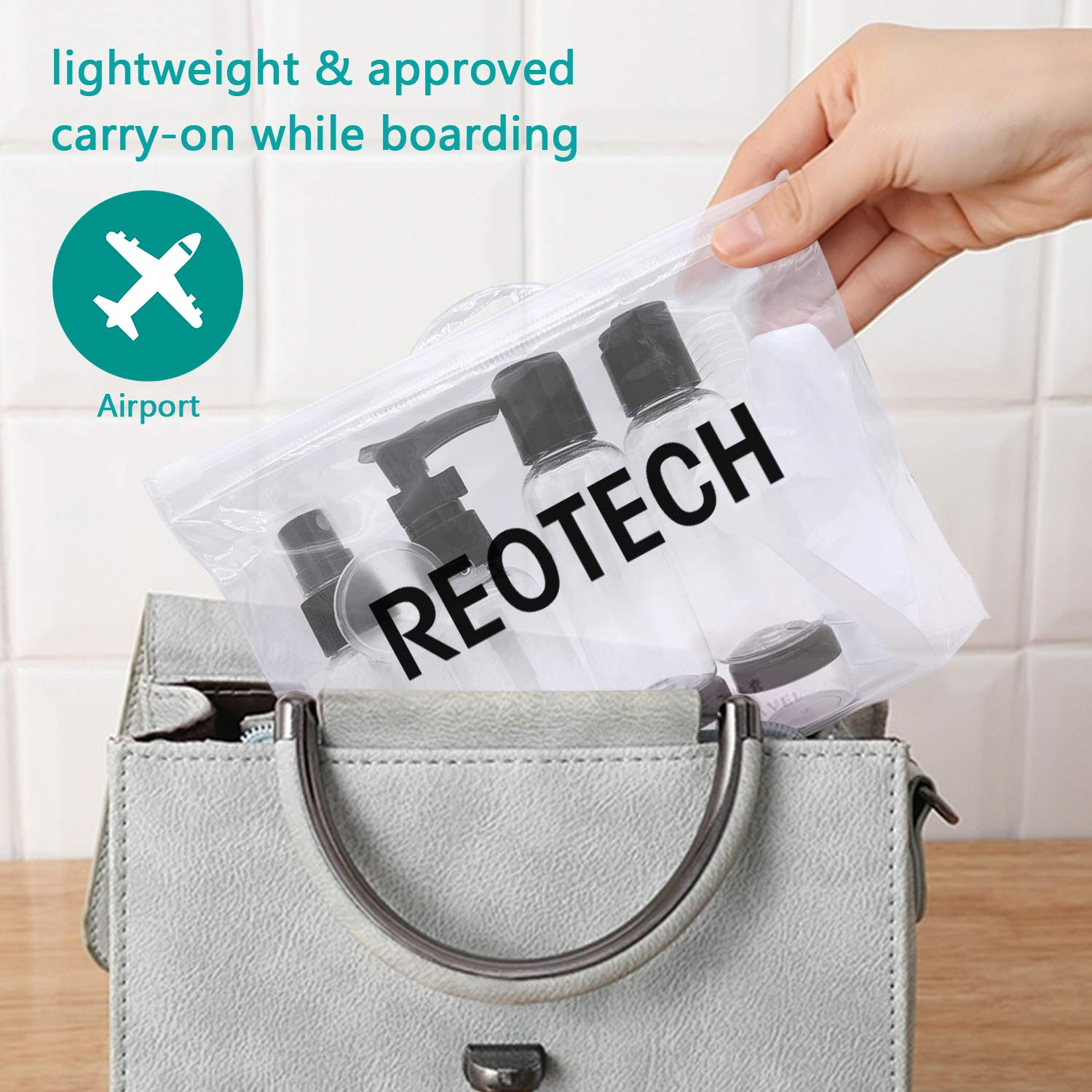 REOTECH Travel Bottles & TSA Approved Toiletry Bag Clear Quart Size with Leak-Proof Travel Accessories & Refillable Containers for Liquids 3-1-1 Carry-On Luggage Compliant for Airplane - Woman & Man