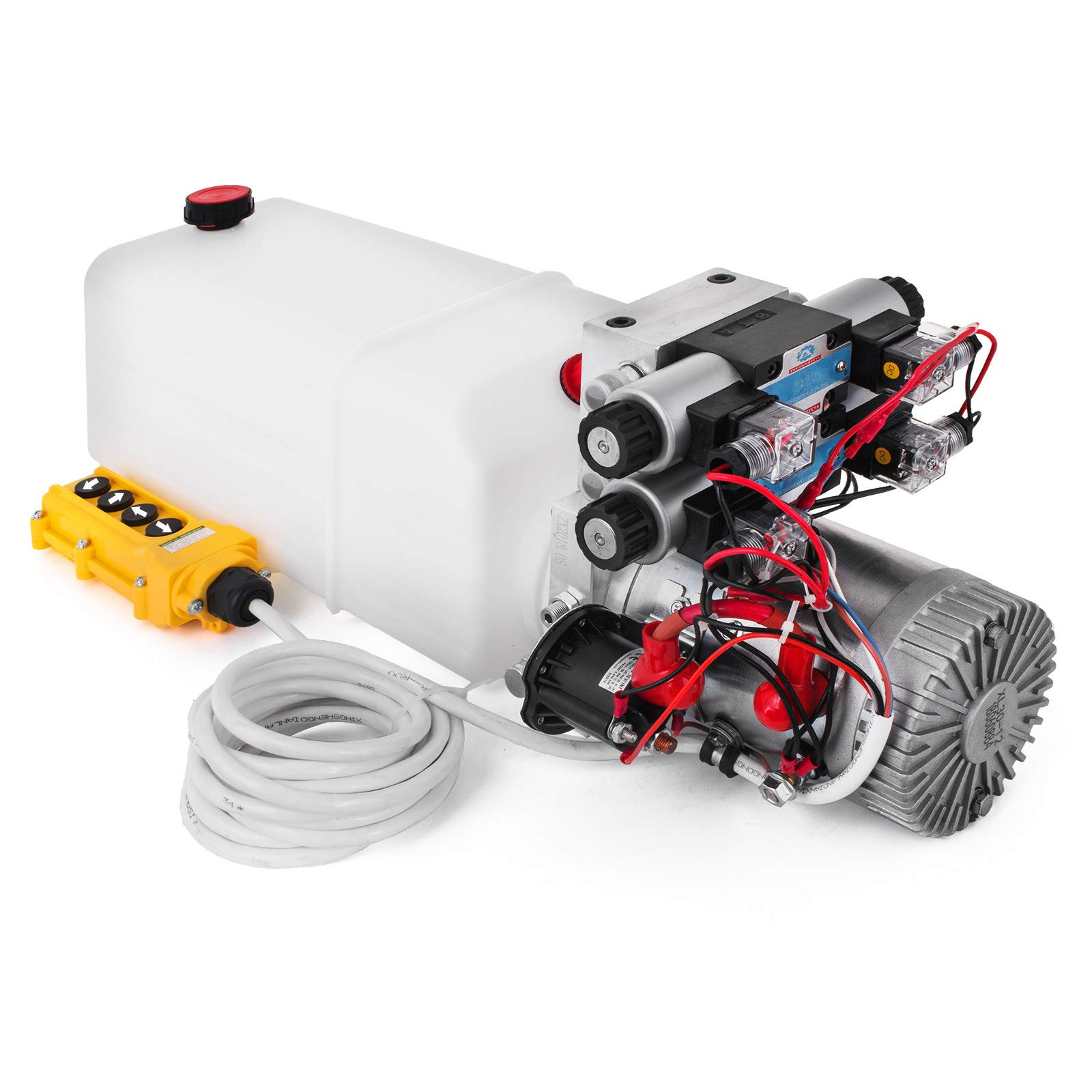Happybuy 12V DC Double Acting Double Solenoid Hydraulic Power Pack Unit with 8L Tank