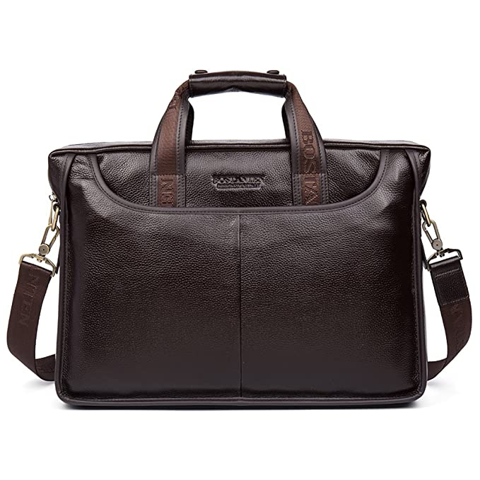 The BOSTANTEN Leather Briefcase Laptop Handbag Messenger Business Bags travel product recommended by Noman Asghar on Pretty Progressive.