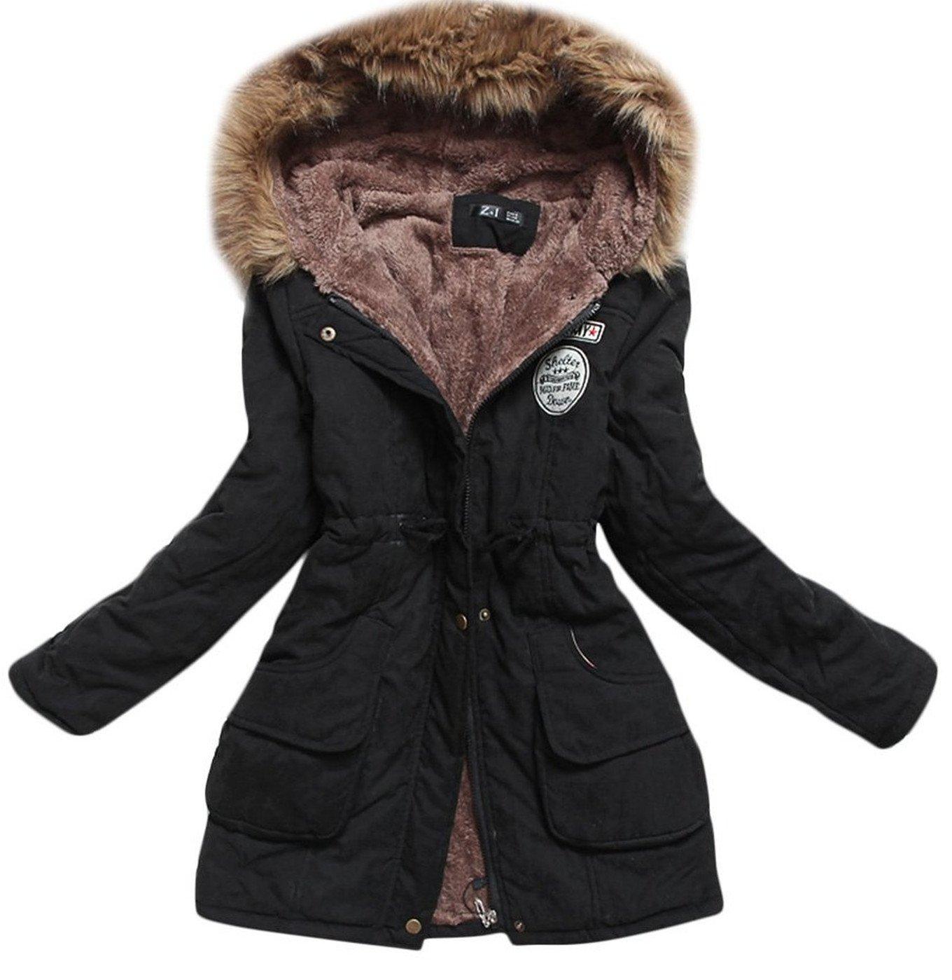 Aro Lora Women's Winter Warm Faux Fur Hooded Cotton-padded Coat Parka Long Jacket US 14 Black
