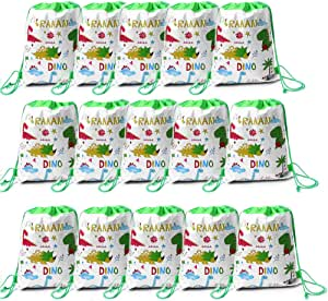 15 Pack Dinosaur Drawstring Party Bags Dinosaur Goody Gift Pouch Non-Woven Drawstring Backpacks Party Bags Gym Bags PE Bags for Kids Boys Girls Dinosaur Party Favors