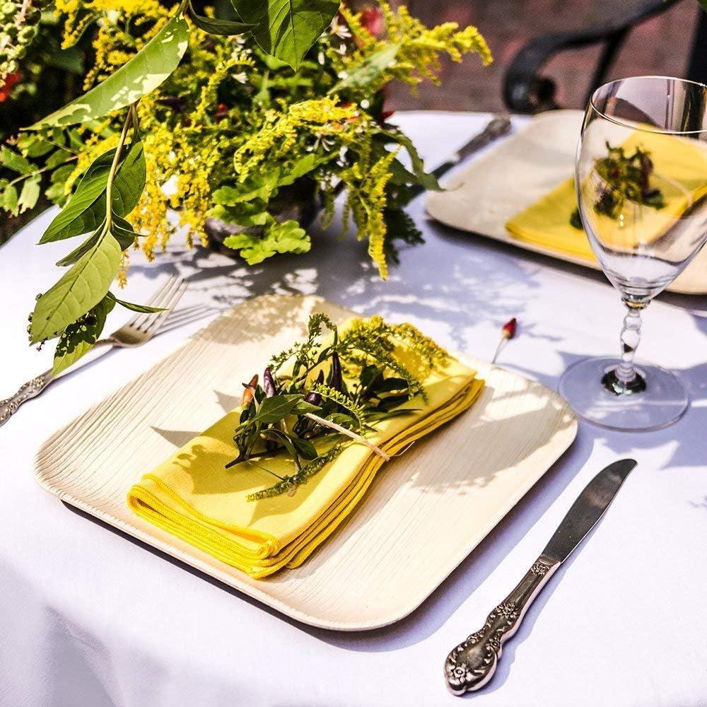 carr/é 13 cm 25 Plats /à feuilles de palmier Bols snack // bol de soupe bois 400ml fait de feuille de palmier 100/% compostable /éco-friendly plaque /él/égante feuille de palmier ensemble bio jetable