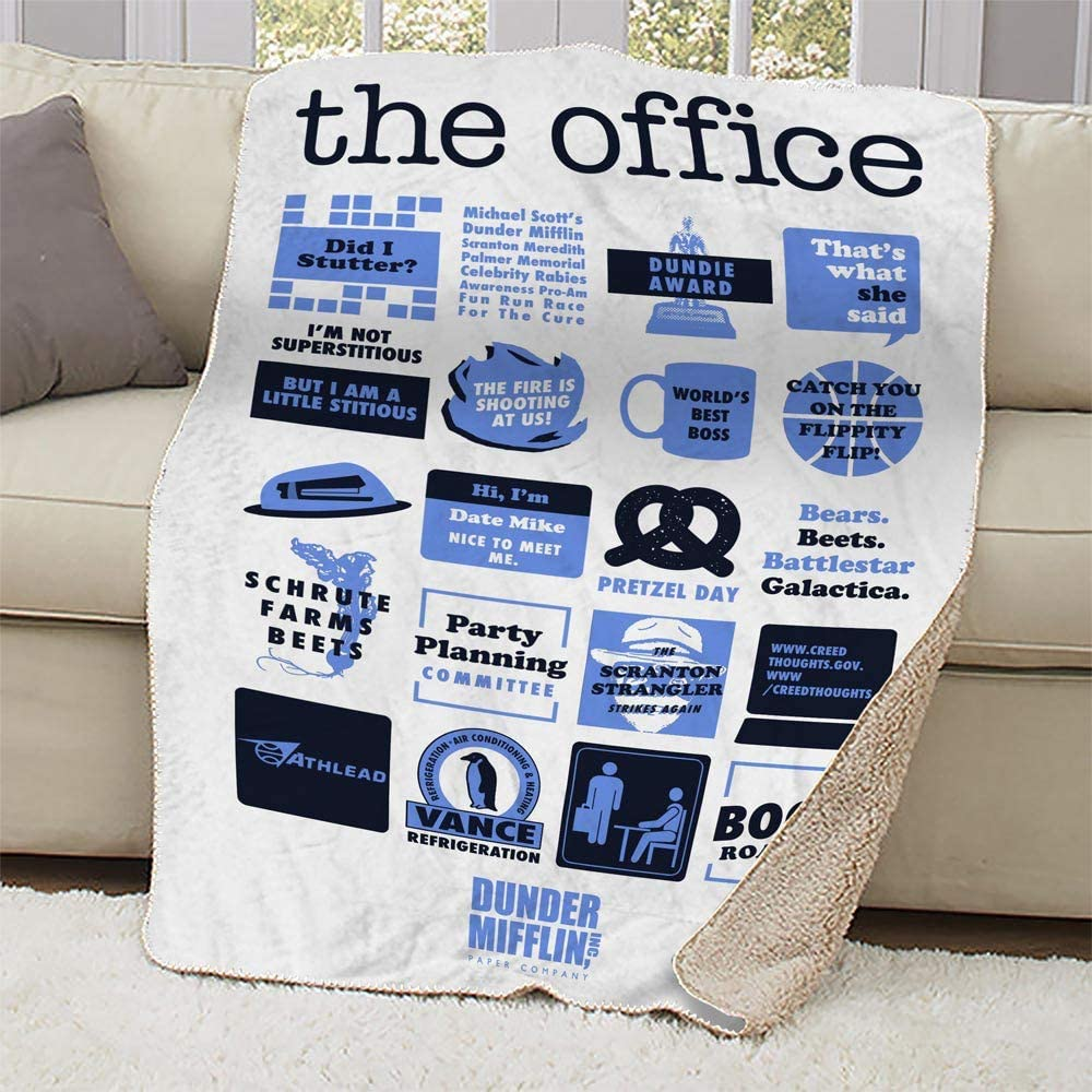 """NBC The Office Mash-Up Sherpa Blanket - 37"""" X 57""""-White"""
