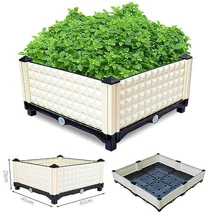 Malayas Potager En Carre 40 X 40 X 23cm Jardiniere De Balcon Bac A Plantes Resistant Aux Intemperies Pour Cultiver Legumes Fruits Fleurs Herbes