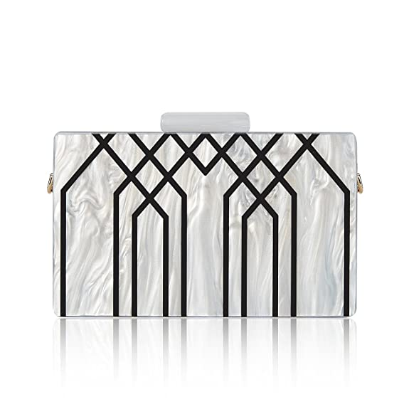 Vintage & Retro Handbags, Purses, Wallets, Bags GGBAZZARA Womens Evening Handbag box Acrylic Clutch Stripes Shoulder Bag for Party Champagne Evening Bag $29.98 AT vintagedancer.com