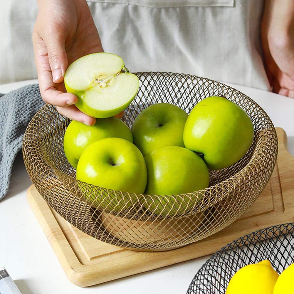 Sensecrol Cesta de Frutas Estilo Europeo Estilo Simple Hierro Forjado Sal/ón Frutero Hogar Doble Canasta de Almacenamiento Frutero
