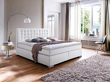 Cama con somier Cabecero en piel sintética color blanco, la cama acolchada, pies de