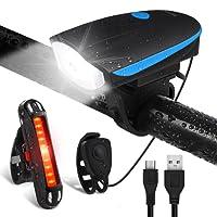 Fahrradlichter Set LED Fahrradlicht Wasserdicht - Techole USB Aufladbare Fahrradbeleuchtung Staubdicht mit Fahrradklingel, Fahrradlampe inkl. Frontlicht und Rücklicht Energiesparend