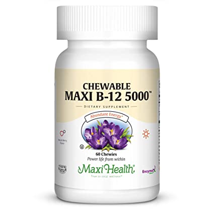 Maxi masticables de salud vitamina B-12 – 5000 mcg – Amplificador de energía –