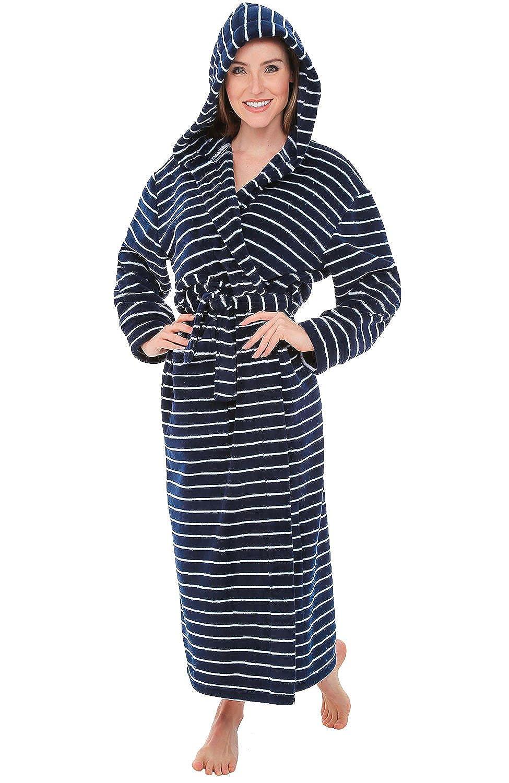 Horizontal White Stripes on Navy bluee Del Rossa Women's Fleece Robe, Long Hooded Bathrobe
