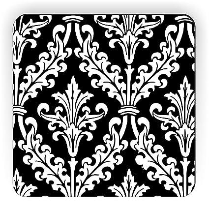 buy rikki knight black and white color damask design square fridge