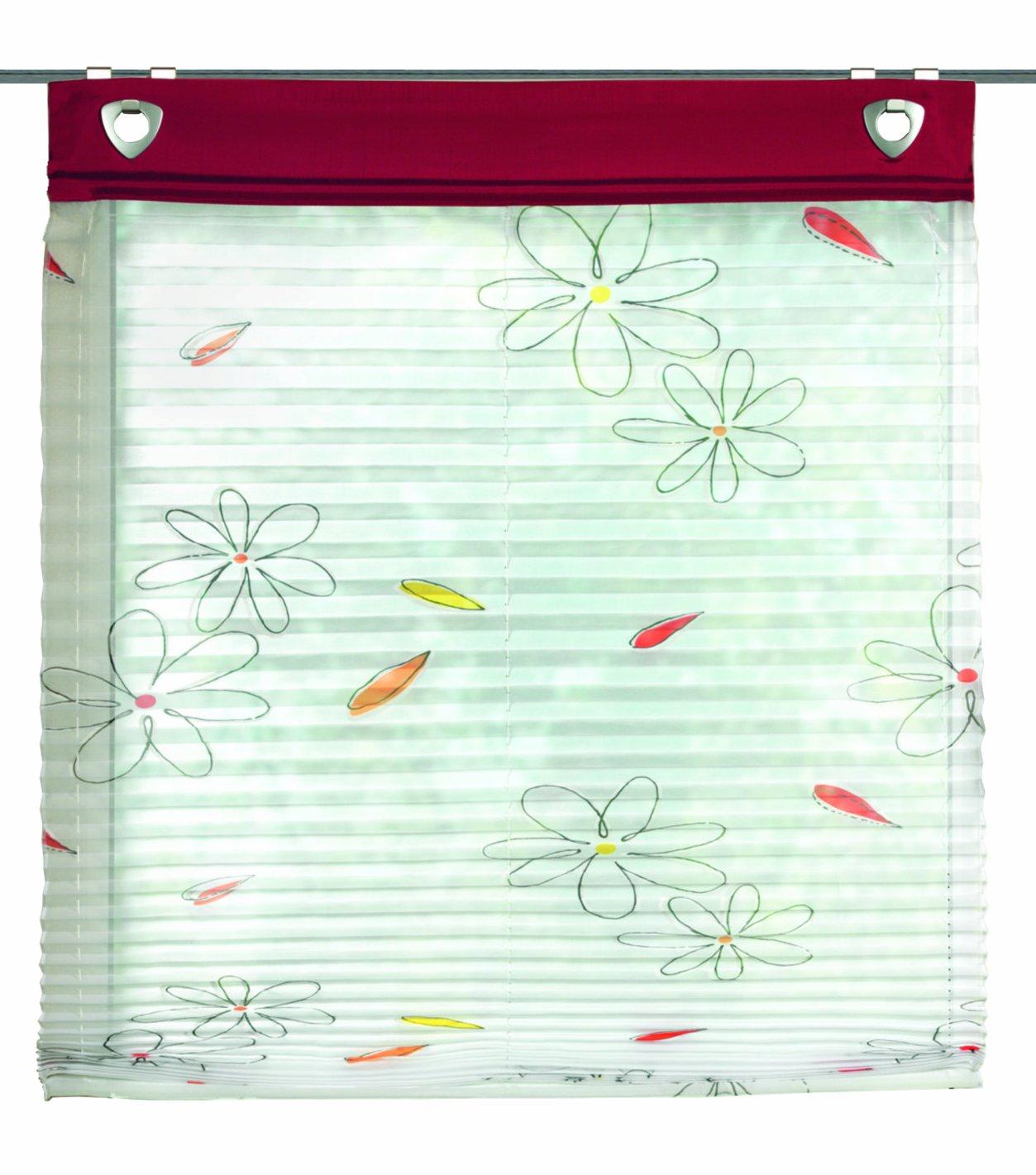 Home fashion Schmidtgard Stoffe Gesa - Tenda a pacchetto plissettata, in voile, con occhielli e ganci per il montaggio alla finestra, fantasia stampata, Poliestere, rosso, 140 x 45 cm 91447-607