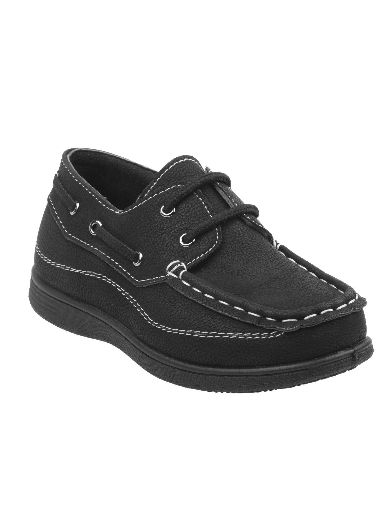 Josmo Boys Black Stitching Detail Lace Closure Trendy Boat Shoes 3 Kids