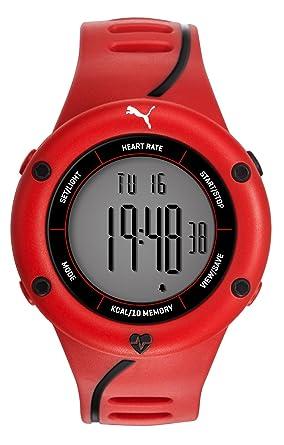 c2bfae7c56 Puma Time Cardiac 01 PU911361003 - Montre Quartz - Affichage Digital -  Bracelet Plastique Rouge et Cadran Gris - Homme: Amazon.fr: Montres