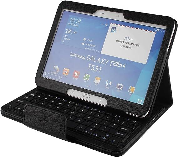 J&H Funda de piel sintética para Samsung Galaxy Tab 4 10.1, Galaxy Tab 4 10.1, teclado inalámbrico Bluetooth para Samsung Galaxy Tab 4 10.1 ...