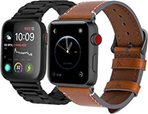 Fullmosa Compatible Apple Watch Stainless Steel Band with Case 44mm 42mm Black & Compatible Apple Watch Genuine Leather Band 42mm 44mm Light Brown